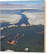 Adults Bathing In Hot Springs Wood Print