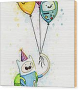 Adventure Time Finn With Birthday Balloons Jake Princess Bubblegum Bmo Wood Print