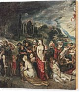 Aeneas And His Family Departing From Troy Wood Print