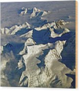 Aerial Ice Fields Wood Print