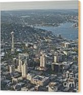 Aerial Image Of The Seattle Skyline  Wood Print