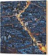 Aerial Night View Of Paris Wood Print