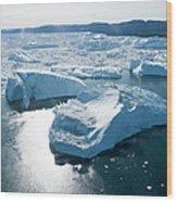 Aerial Of Icebergs Of Ilulissat Wood Print