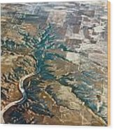 Aerial Of Rocky Mountains Over Montana State Wood Print