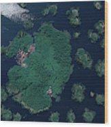 Aerial Of Small Island Village, Uganda Wood Print