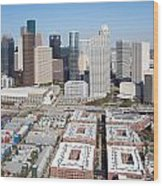Aerial Of The Houston Skyline Wood Print