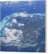Aerial Over Atoll Wood Print