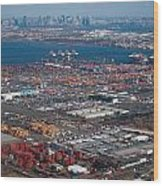 Aerial Over Newark And New Yourk Wood Print