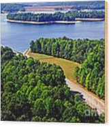 Aerial Summersville Dam And Lake Wood Print
