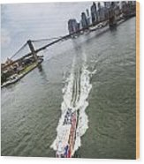 Aerial View - Red Tourist's Boat At East River Wood Print