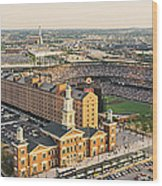Aerial View Of A Baseball Stadium Wood Print