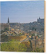 Aerial View Of A City, Toledo, Spain Wood Print