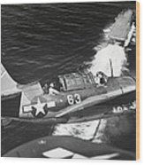 Aerial View Of A Curtiss Helldiver Wood Print