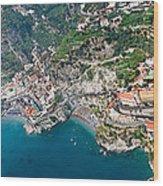 Aerial View Of A Town, Atrani, Amalfi Wood Print