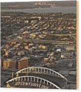 Aerial View Of Bellevue Skyline And Century Link  Wood Print