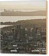 Aerial View Of Bellevue Skyline Wood Print