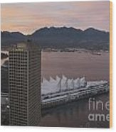 Aerial View Of Canada Place At Sunse Wood Print
