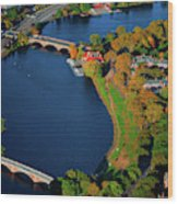 Aerial View Of Charles River With Views Wood Print