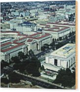 Aerial View Of Constitution Avenue Wood Print