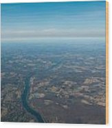 Aerial View Of Earth In Usa Wood Print