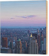 Aerial View Of Empire State And Midtown Wood Print