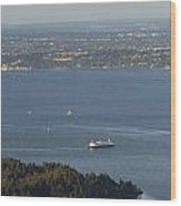Aerial View Of Ferry Boats On Puget Sound Leaving Bainbridge Isl Wood Print