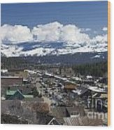 Aerial View Of Historic Downtown Truckee California Wood Print