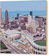 Aerial View Of Jacobs Field, Cleveland Wood Print