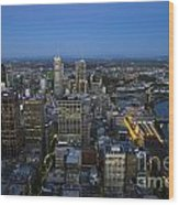 Aerial View Of Melbourne At Night Wood Print