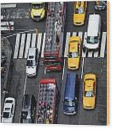 Aerial View Of New York City Traffic Wood Print