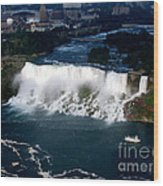 Aerial View Of Niagara Falls And River And Maid Of The Mist Wood Print