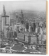 Aerial View Of Nyc Battery Wood Print