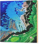Aerial View Of Pebble Beach Wood Print