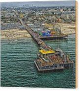 Aerial View Of Santa Monica Pier Wood Print
