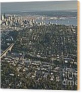 Aerial View Of Seattle Wood Print