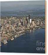 Aerial View Of Seattle Skyline With Elliott Bay And Ferry Boat Wood Print