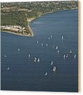 Aerial View Of Seattle Skyline With Sailboat Race On Puget Sound Wood Print