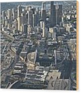 Aerial View Of Seattle Skyline With The Pro Sports Stadiums Wood Print