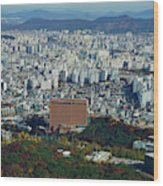 Aerial View Of Seoul South Korea Wood Print