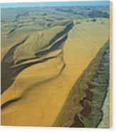 Aerial View Of Skelton Coast, Namib Wood Print