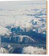 Aerial View Of Snowcapped Mountains In Bc Canada Wood Print