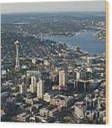 Aerial View Of Space Needle And Lake Union Wood Print