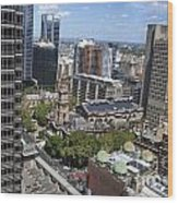 Aerial View Of Sydney City Hall Wood Print