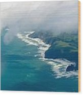 Aerial View Of Tasman Sea Shore Nz North Island Wood Print