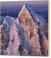 Aerial View Of The Grand Teton Wood Print