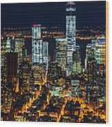 Aerial View Of The Lower Manhattan Skyscrapers By Night Wood Print