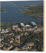 Aerial View Of The New Husky Stadium Wood Print
