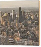 Aerial View Of The Seattle Skyline With Stadiums Wood Print