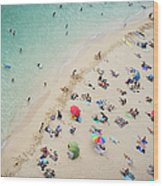 Aerial View Of Tourists On Beach Wood Print