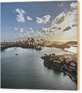 Aeriall View Of Sydney Harbour At Sunset Wood Print